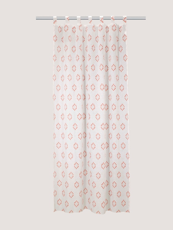 Patterned tab-top curtain - unisex - coral - 7 - TOM TAILOR