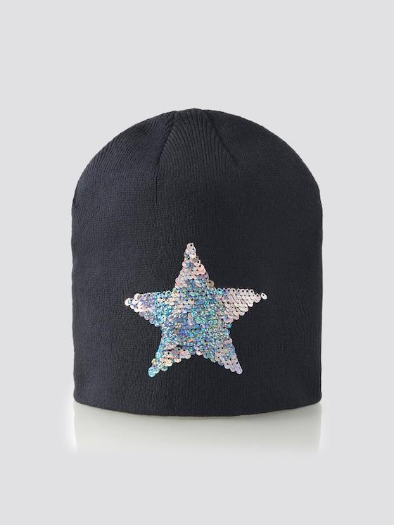 Beanie mit Pailletten-Verzierung - Mädchen - navy blazer|blue - 7 - TOM TAILOR