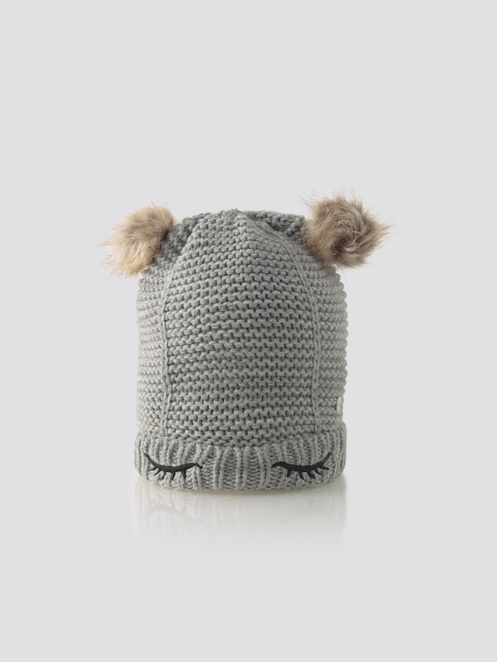 Cap with bobble - Girls - drizzle melange|gray - 7 - TOM TAILOR
