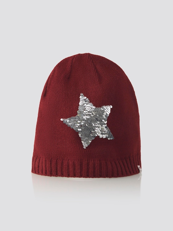 Beanie with sequin decoration - Girls - cabernet|rose - 7 - TOM TAILOR