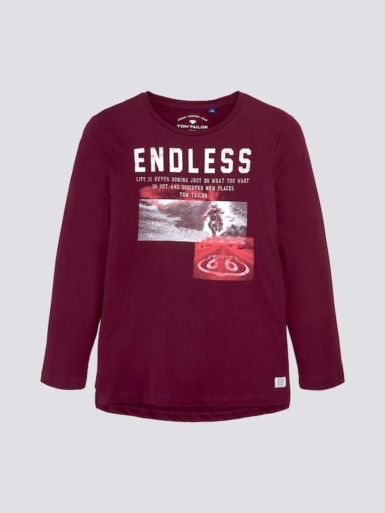 Lange mouwen shirt met print - Jongens - new bordeaux|red - 7 - TOM TAILOR
