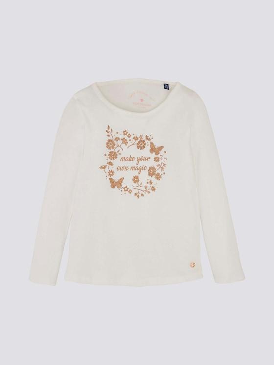Langarmshirt mit Glitzerprint - Mädchen - cloud dancer|white - 7 - Tom Tailor E-Shop Kollektion