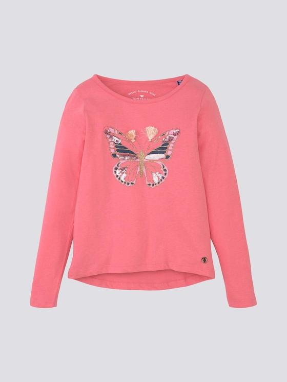 Langarmshirt mit Applikationen - Mädchen - strawberry pink|rose - 7 - TOM TAILOR