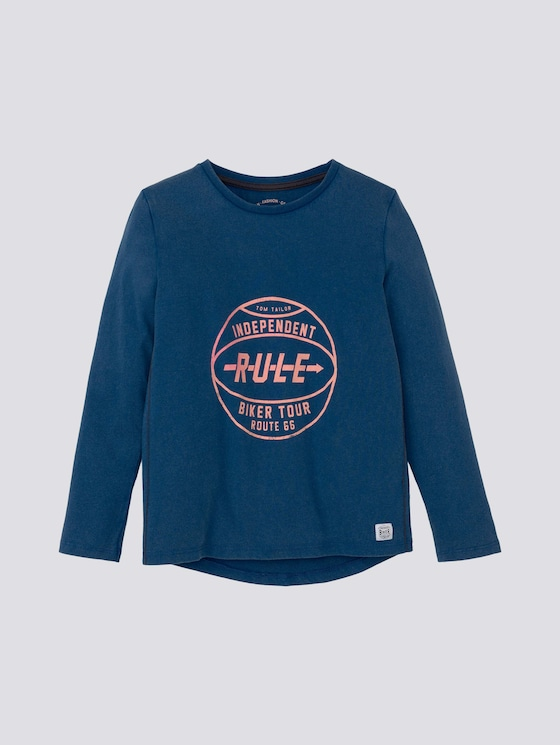Langarmshirt mit Print - Jungen - new blue|blue - 7 - TOM TAILOR