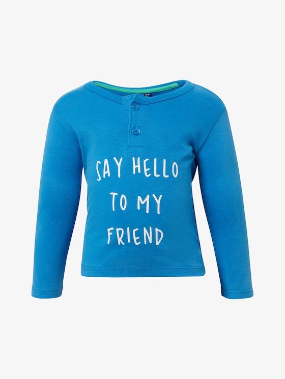 Langarmshirt mit Schrift-Print - Babies - nebulas blue|blue - 7 - TOM TAILOR
