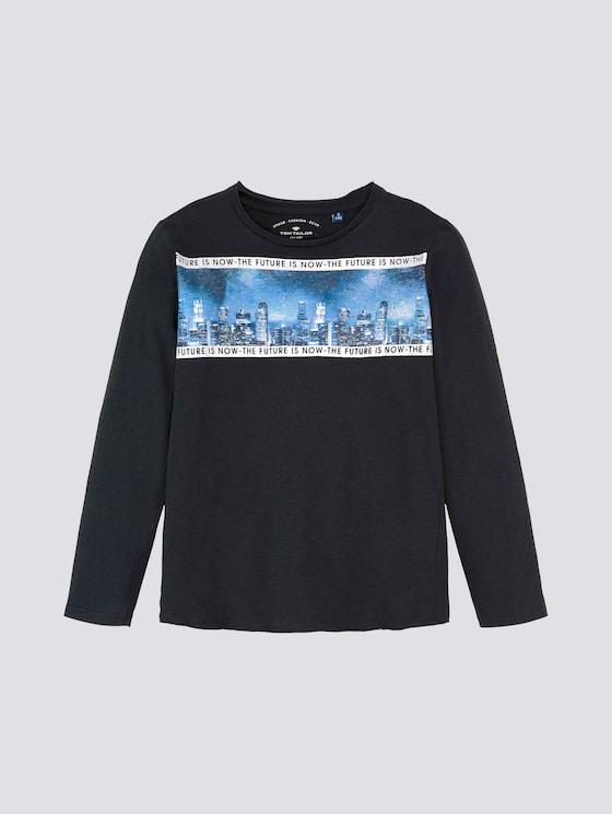 Langarmshirt mit Print - Jungen - vulcan|gray - 7 - TOM TAILOR