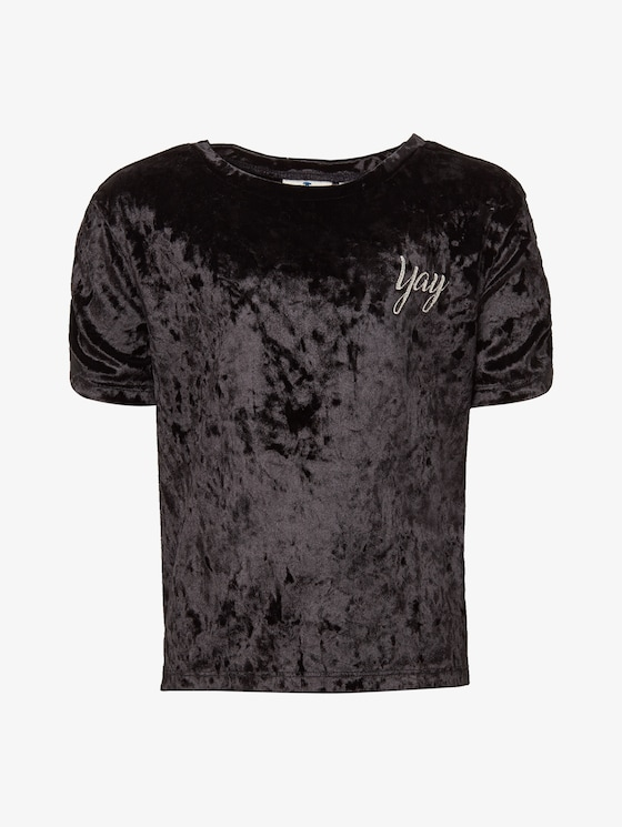 T-Shirt aus Samt - Mädchen - caviar|black - 7 - TOM TAILOR
