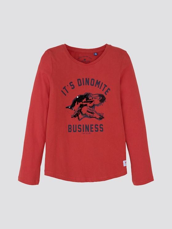 Langarmshirt mit Dino-Print - Jungen - new red red - 7 - TOM TAILOR