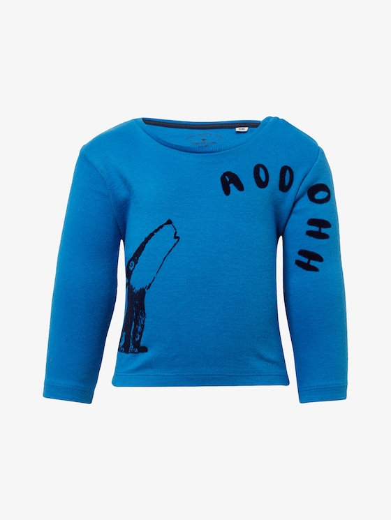 Langarmshirt mit Wolfs-Print - Babies - nebulas blue|blue - 7 - TOM TAILOR