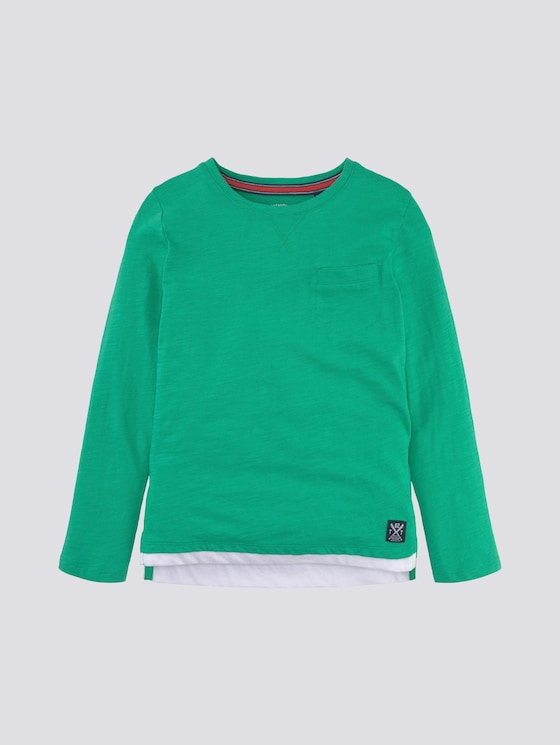Langarmshirt mit Underlayer  - Jungen - holly green|green - 7 - TOM TAILOR