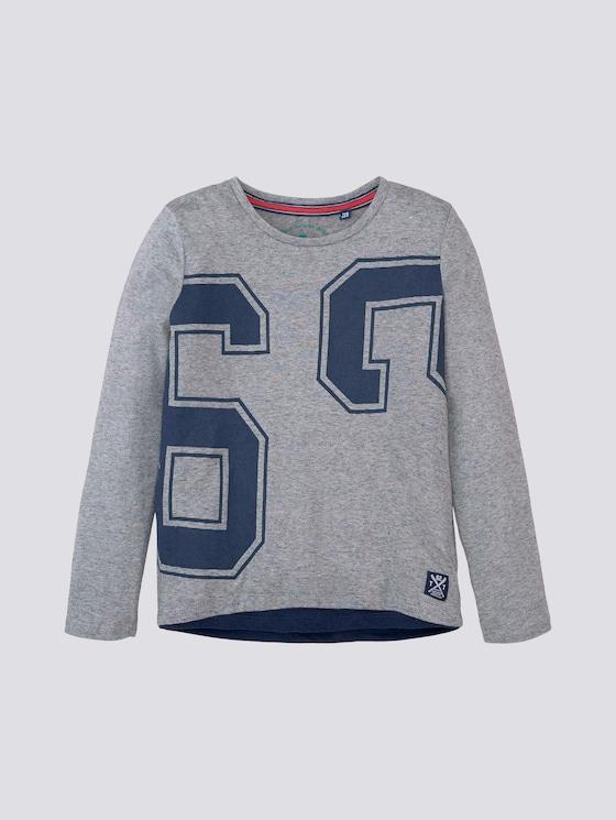 Langarmshirt mit Nummern-Print - Jungen - moonstruck melange|gray - 7 - TOM TAILOR