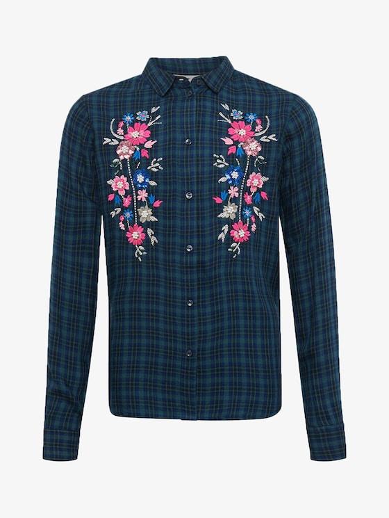 Karierte Bluse mit Blumenmuster - Mädchen - y/d check|multicolored - 7 - TOM TAILOR