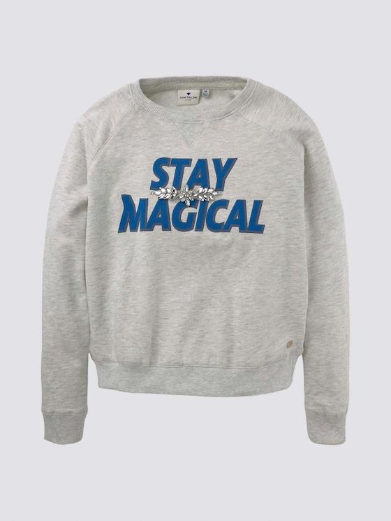 Sweatshirt mit Schriftprint - Mädchen - lunar rock melange beige - 7 - Tom Tailor E-Shop Kollektion