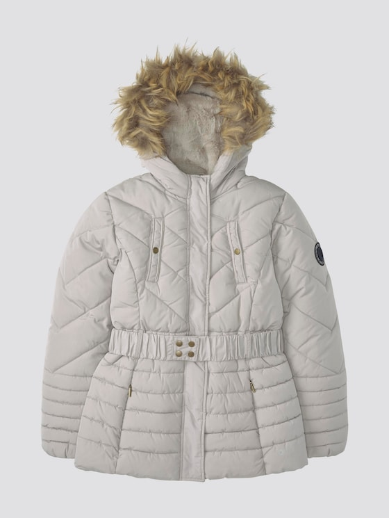 Winterparka met capuchon - Meisjes - silver cloud|gray - 7 - TOM TAILOR