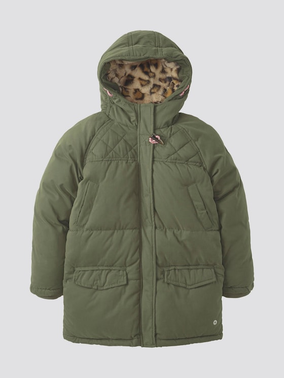 Parka with hood - Girls - forest night|oliv - 7 - TOM TAILOR