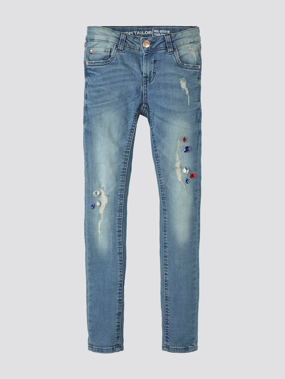 Jeans with rhinestones - Girls - blue denim|blue - 7 - TOM TAILOR