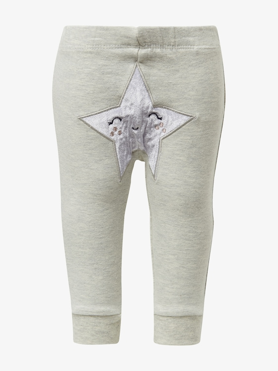 Tracksuit bottoms with a star  - Babies - lunar rock melange|beige - 7 - TOM TAILOR
