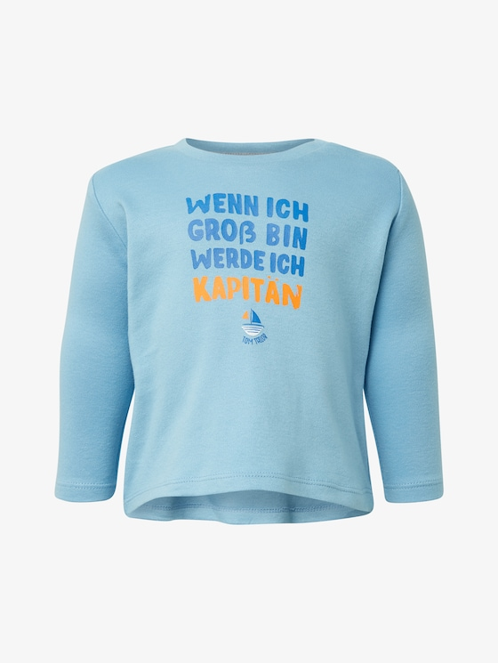 Langarmshirt mit Brust-Print - Babies - baltic sea - 7 - TOM TAILOR