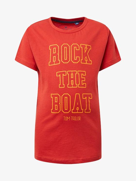 T-Shirt mit Brust-Print - Jungen - molten lava|red - 7 - TOM TAILOR