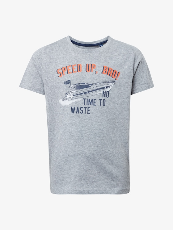 T-Shirt mit Brust-Print - Jungen - drizzle melange|gray - 7 - TOM TAILOR