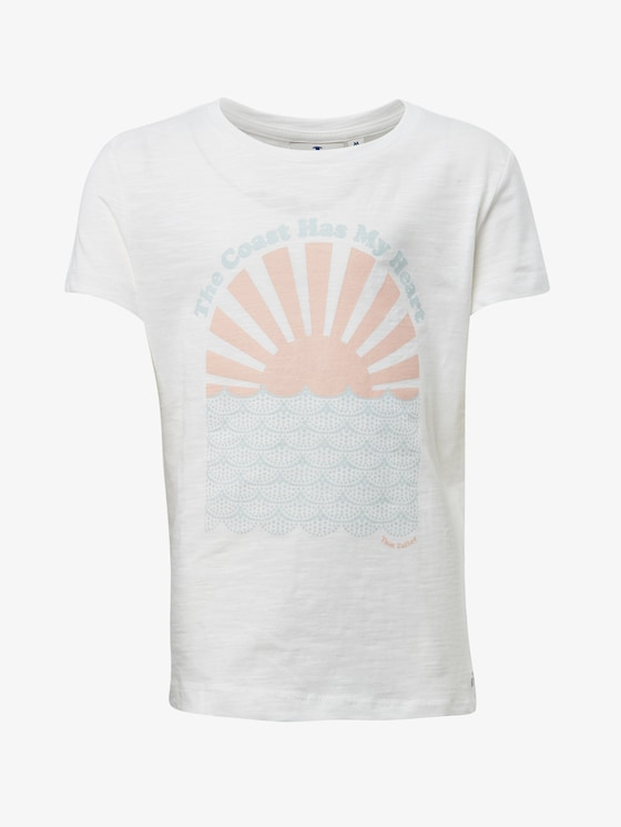 T-Shirt mit Brust-Print - Mädchen - cloud dancer|white - 7 - TOM TAILOR
