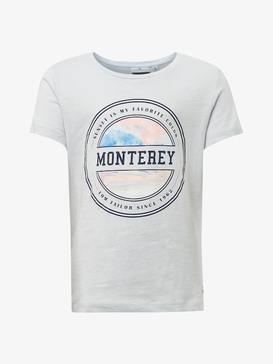 T-shirt with chest print - Girls - plein air|blue - 7 - TOM TAILOR