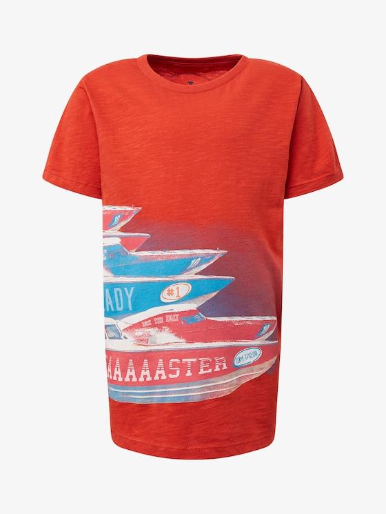 T-Shirt mit Print vorne - Jungen - molten lava red - 7 - TOM TAILOR