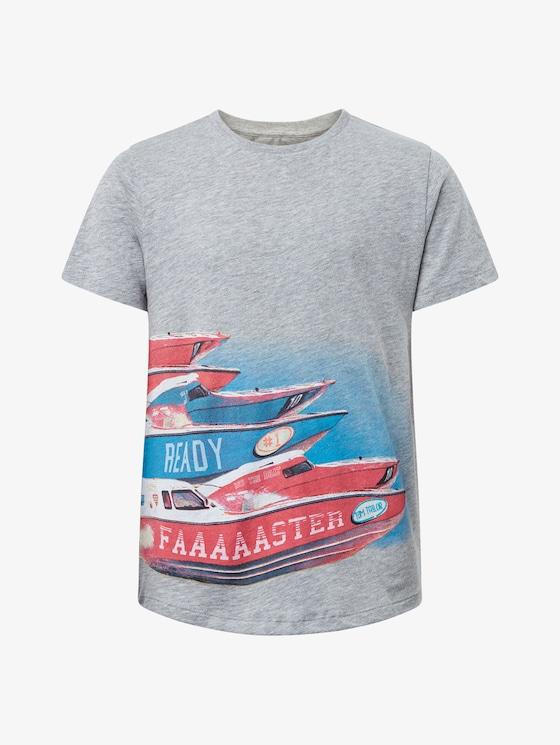 T-Shirt mit Print vorne - Jungen - drizzle melange|gray - 7 - TOM TAILOR