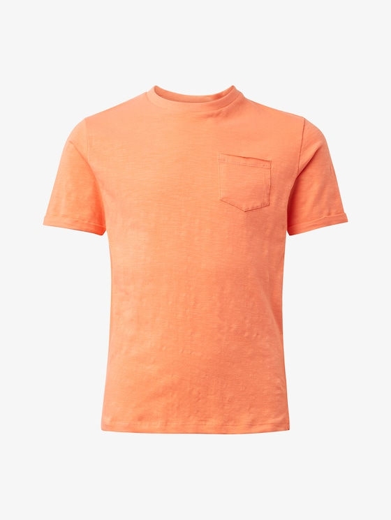 T-shirt with chest pocket - Boys - coral|beige - 7 - TOM TAILOR