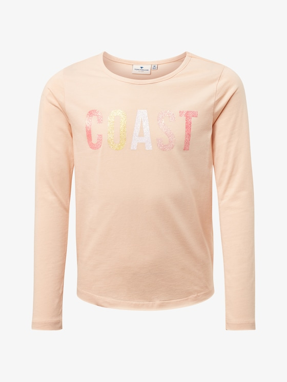 Langarmshirt mit Brust-Print - Mädchen - peachy keen|rose - 7 - TOM TAILOR