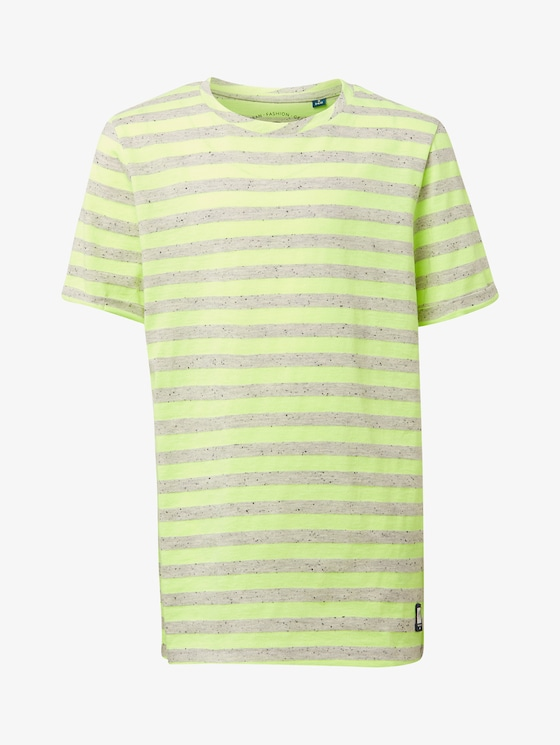 Striped T-shirt - Boys - drizzle melange|gray - 7 - TOM TAILOR