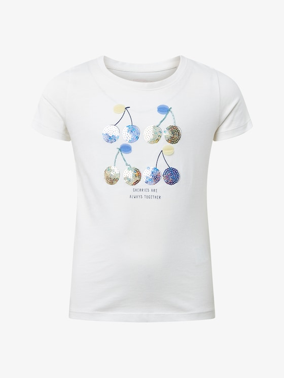 T-shirt with chest print - Girls - cloud dancer|white - 7 - TOM TAILOR