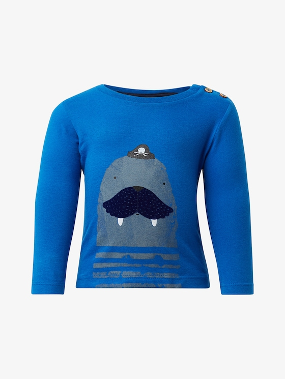 Long-sleeved shirt with print - Babies - nautical blue|blue - 7 - TOM TAILOR