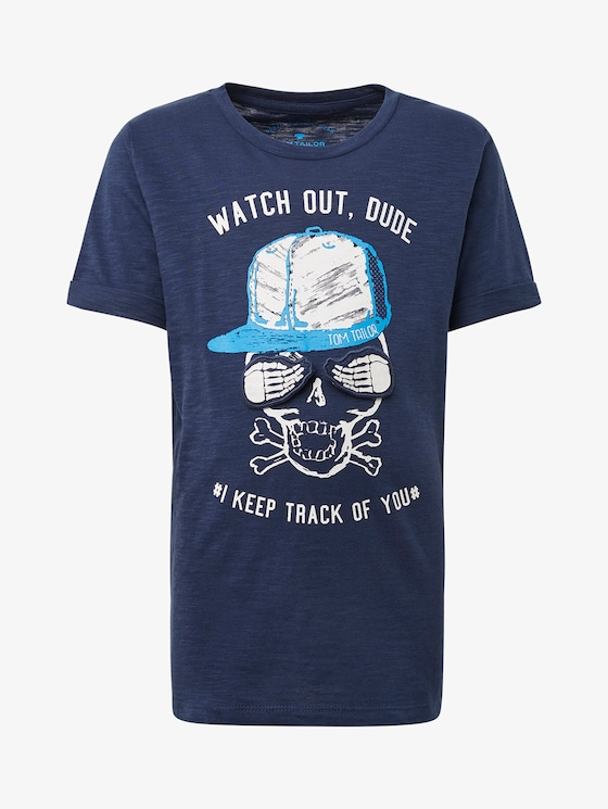 T-shirt with chest print - Boys - dress blue|blue - 7 - TOM TAILOR