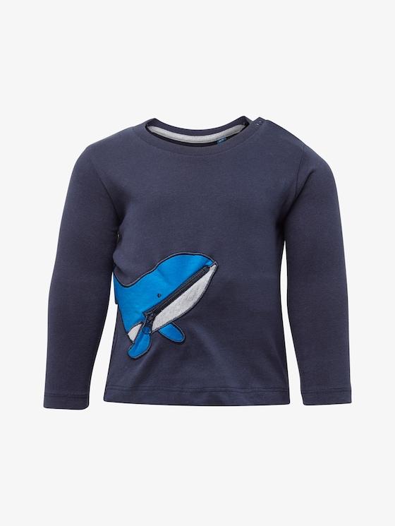 Langarmshirt mit Wal-Tasche - Babies - navy blazer|blue - 7 - TOM TAILOR