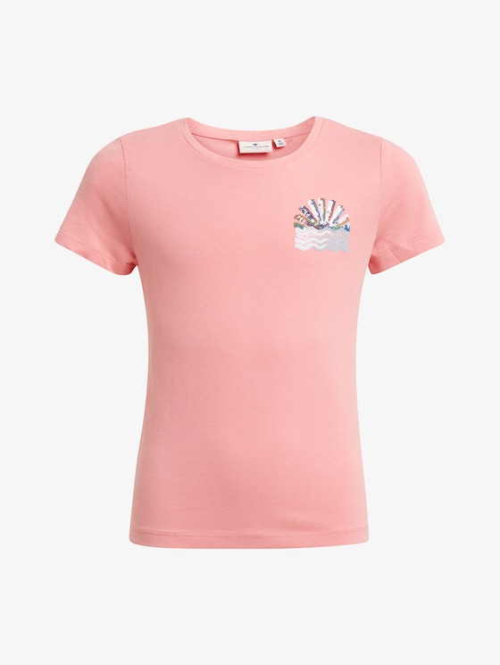 T-shirt met print - Meisjes - conch shell|pink - 7 - TOM TAILOR