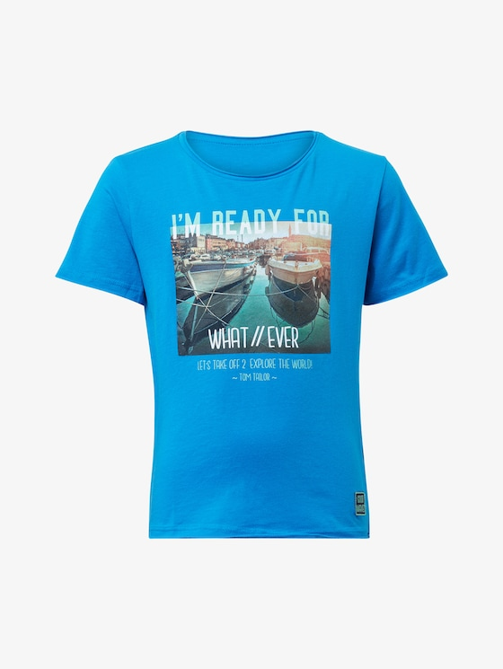 T-shirt with photo print - Boys - brilliant blue|blue - 7 - TOM TAILOR
