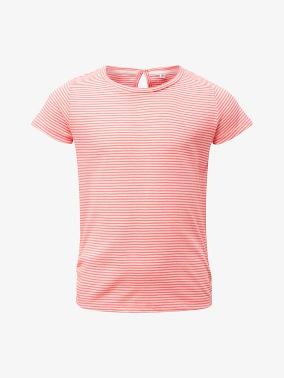 Gestreiftes T-Shirt - Mädchen - knockout pink|pink - 7 - TOM TAILOR