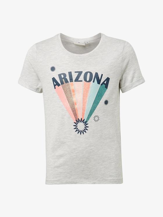T-Shirt mit Print - Mädchen - lunar rock melange|beige - 7 - TOM TAILOR