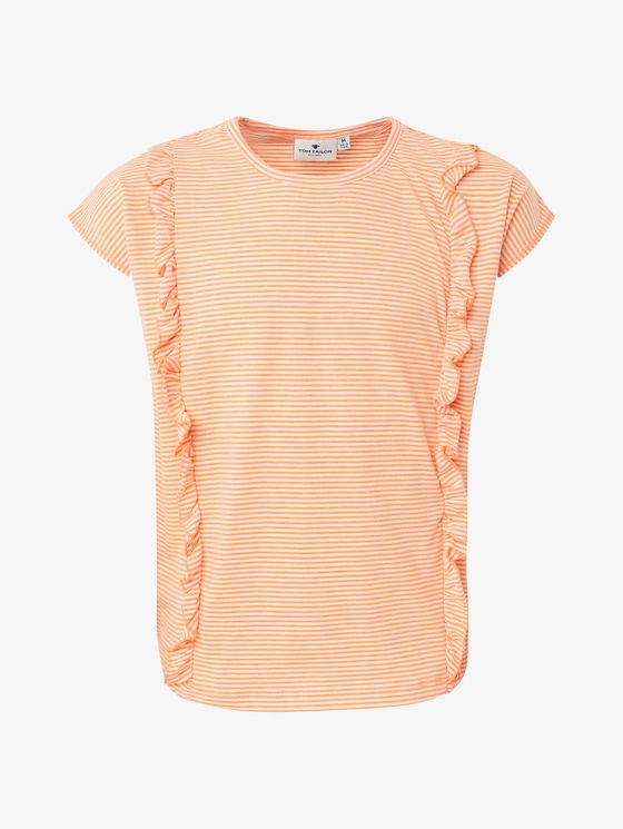 T-shirt with ruffles - Girls - fiery coral|orange - 1 - TOM TAILOR