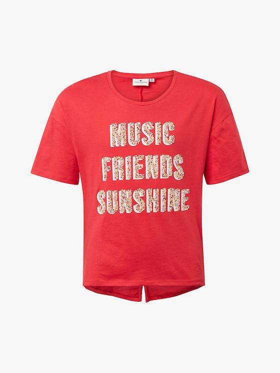 T-Shirt mit Glitzer-Print - Mädchen - fiery coral|orange - 7 - TOM TAILOR