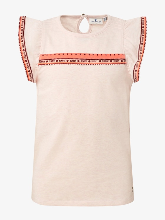 T-shirt met fashion tape - Meisjes - peachy keen|rose - 1 - TOM TAILOR