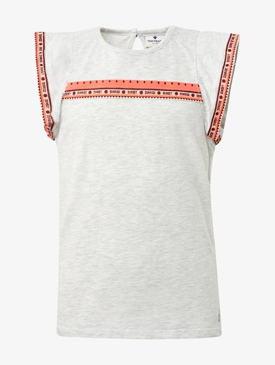 T-Shirt mit Fashion-Tape - Mädchen - lunar rock melange|beige - 1 - TOM TAILOR