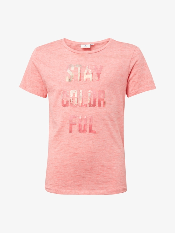 T-shirt with sequin writing - Girls - tawny port|red - 7 - TOM TAILOR