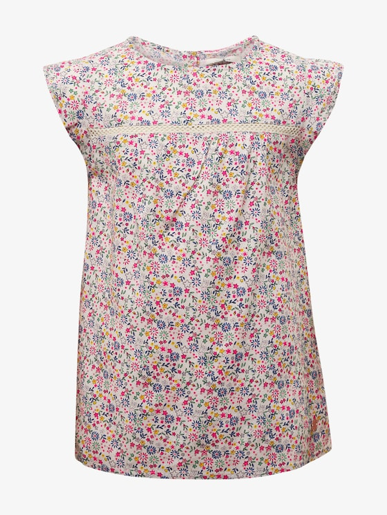 Patterned blouse with lace - Girls - allover|multicolored - 7 - TOM TAILOR