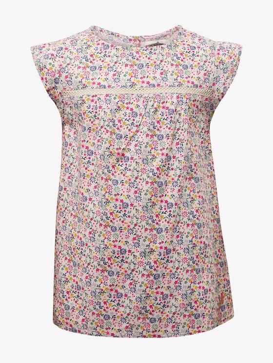 Gemusterte Bluse mit Spitze - Mädchen - allover|multicolored - 7 - TOM TAILOR