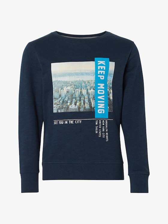 Sweatshirt with a photo print - Boys - dress blue|blue - 7 - TOM TAILOR