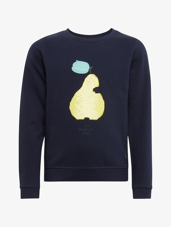 Sweatshirt met print op de borst - Meisjes - black iris|blue - 7 - TOM TAILOR