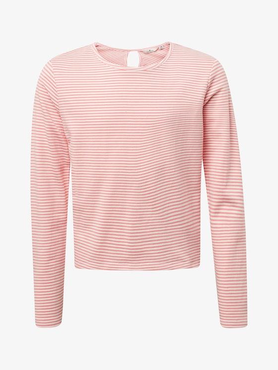 Striped sweatshirt - Girls - conch shell|pink - 7 - TOM TAILOR