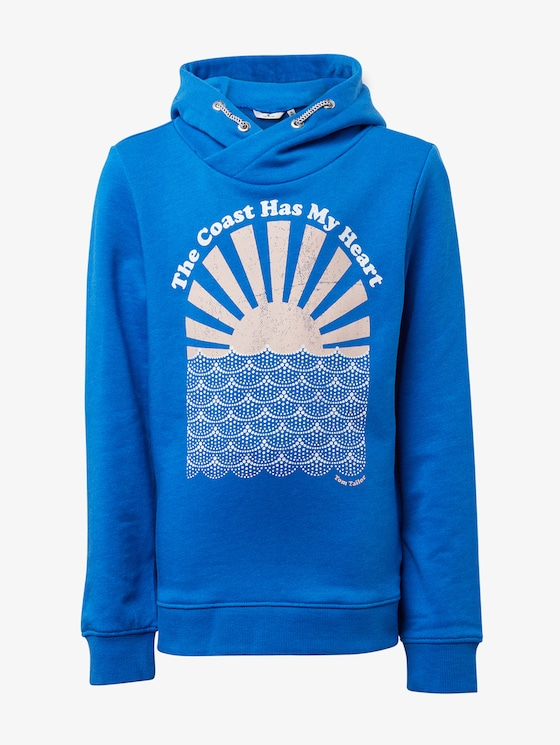 Sweatshirt with chest print - Girls - victoria blue|blue - 7 - TOM TAILOR